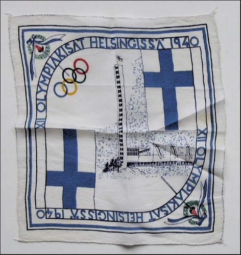 On a Silk scarf for the 1940 Helsinki Olympics (which for obvious reasons didn't happen).