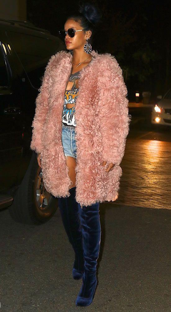 Rihanna rocked a pink fur coat by Ulla Johnson and... | RIHANNA.STYLE