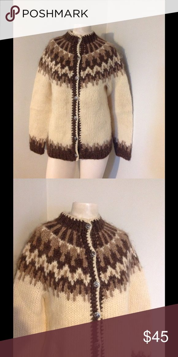 "Vtg Brown Off White Fair Isle Cardi Sweater ❤️SALE Very pretty vintage sweater. Pewter button up fair isle design. No tags on this - great condition. Chest 38"" Length 26"" Vintage Sweaters Cardigans"