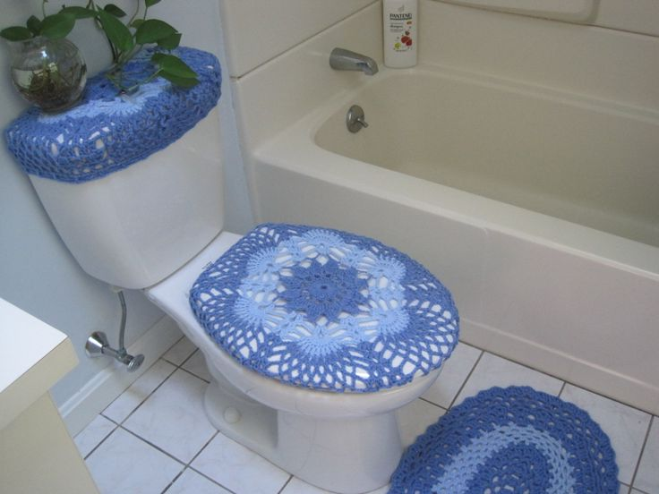 Crochet Bathroom Set Of 3 Items   Toilet Seat Cover, Tank Lid Cover And Mat