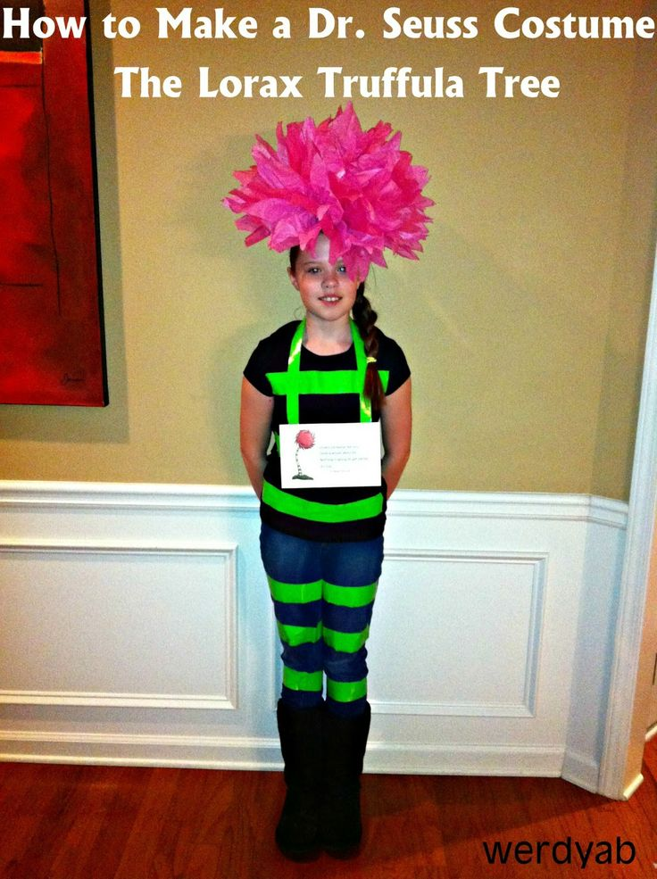 How To Make a Dr. Seuss Costume: The Lorax Truffula Tree. A quick, inexpensive idea for dress-up day at school for Dr. Seuss' birthday and Read Across America Week.