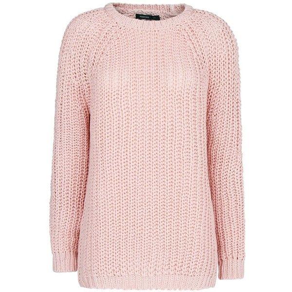 Mango Reverse Chunky Knit Jumper, Light Pastel Pink (490 UAH ...