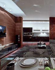 Гостиная, столовая  и кухня решены как открытое пространство. Вгостиной оборудована ТВ-зона: плазменная панель  и семиканальный звук. Диван...