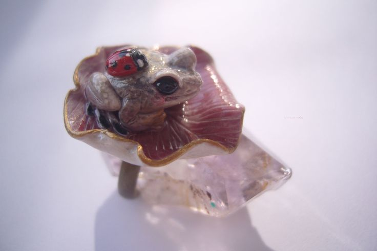 "Frog, toad. Handmade ring. Polymer clay. - Купить Кольцо с лягушкой ""Принцесса Смеяна и божья коровка"" - кольцо лягушка, кольцо с лягушкой"