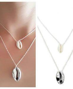Cadeaux bijoux Femme- Collier multi-rangs coquillage