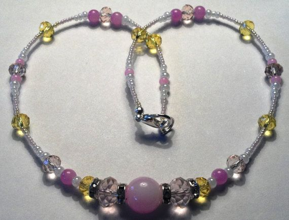 19 inch handmade pink and yellow beaded by MGBeadCreations on Etsy, $30.00