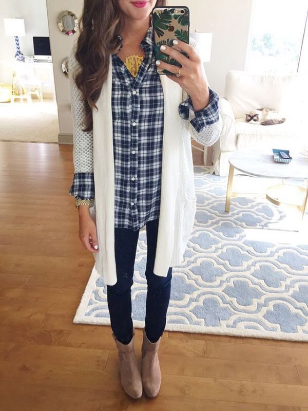 Long cardigan with plaid button down. Love the booties. Stitch fix fall winter fashion trends. Stitch fix fall 2016. Stitch fix winter 2016.