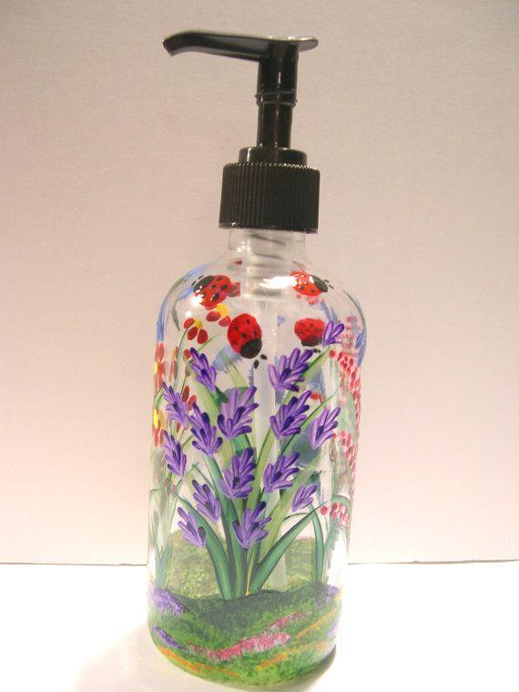 Hand Painted Glass Liquid Soap Lotion Dispenser Bottle