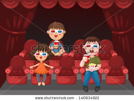 illustration of isolated kids watching a movie with 3d glasses vector by jeh_somwang, via Shutterstock