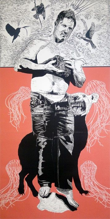 An original work by Christiaan Diedericks entitled: 'The Union of Opposites', linocut on 300gsm hahnemuhle etching paper, 180 x 90cm For more please visit www.finearts.co.za