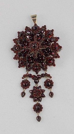 Antique Victorian Era Bohemian Garnet Brooch / Pendant