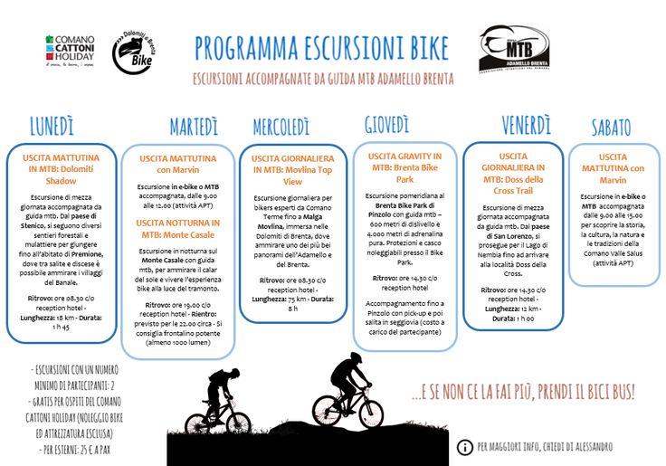 Un ricco programma settimanale di #escursioni #bike #mtb per gli amanti delle due ruote... Ogni giorno una nuova proposta ed attività #outdoor per vivere e scoprire il #Trentino e la #ComanoValleSalus