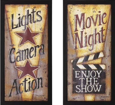 Amazon.com: Lights, Camera, Action and Movie Night Theater Wall Art Pair: Home & Kitchen