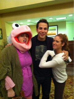 Rebel Wilson, Skylar Astin and Brittany Snow (Fat Amy, Jesse, and Chloe) from Pitch Perfect.