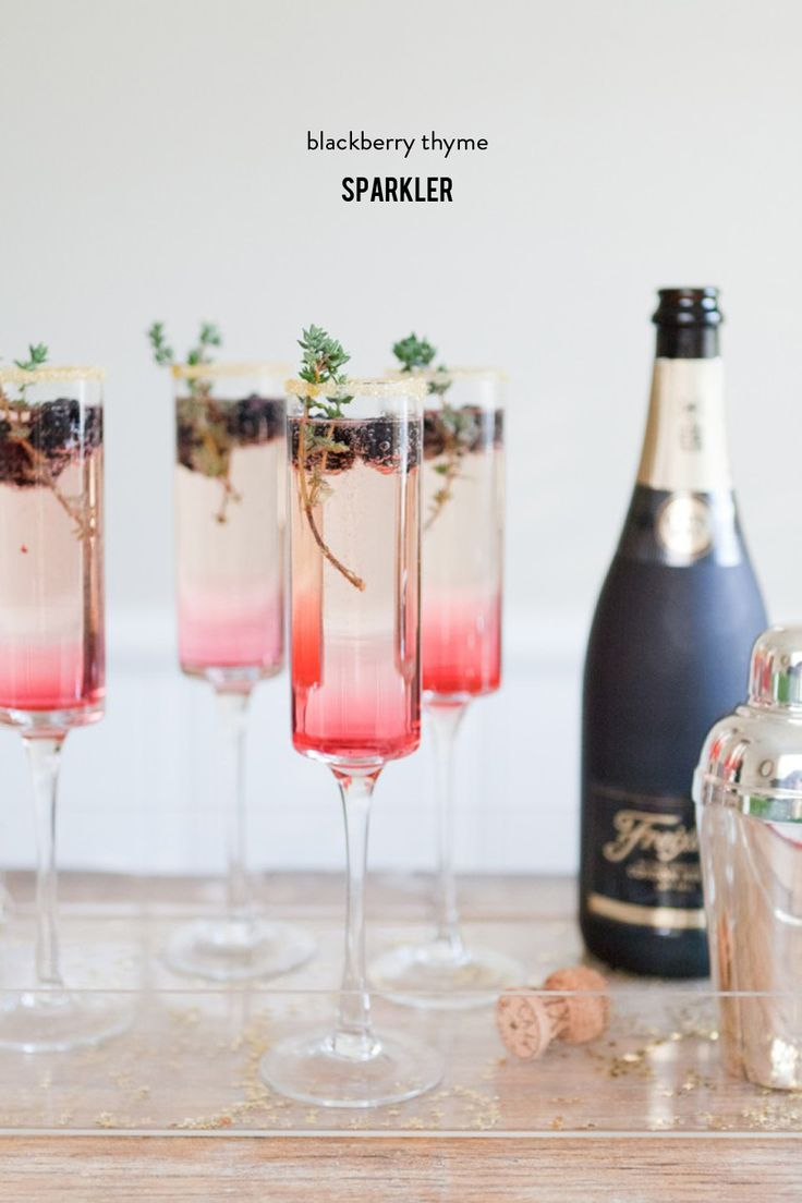 #Champagne cocktail anyone? An ombre colored cocktail as delish as it is easy! On #SMPLiving: http://www.StyleMePretty.com/living/2015/11/21/blackberry-thyme-sparkler/