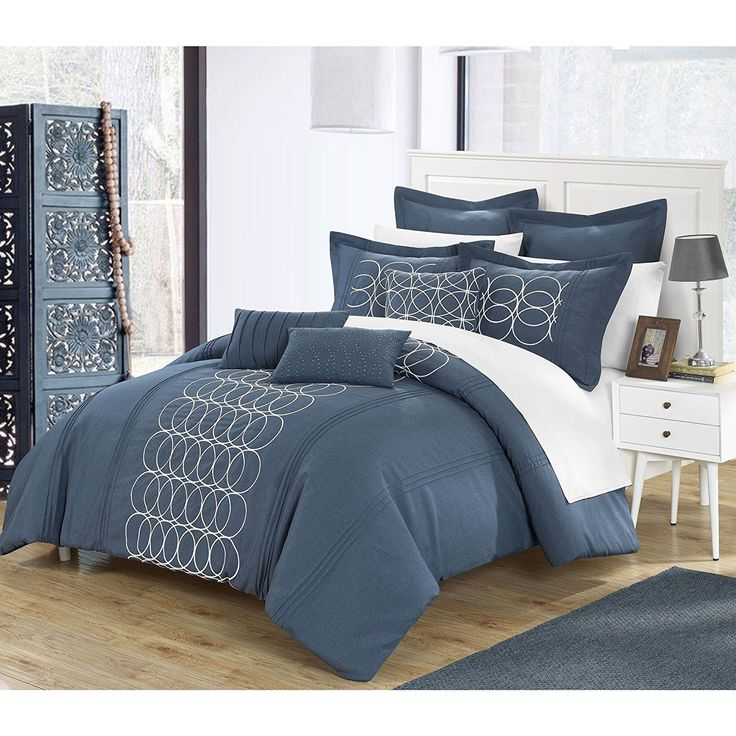 Blue Oversized King Comforter Set Luxury Embroidery Bedding Geometric Oval Pattern Elegant Faux Linen Embellished Decorative Pillows Medium Blue Grey