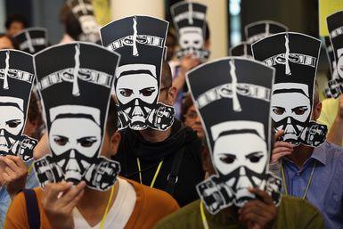 Protesta de Amnistía Internacional en Berlín por la agresiones a mujeres egipcias en plaza Tahir. - Sean Gallup/Getty Images