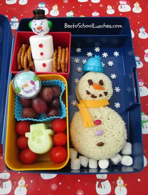 School lunch ideas for the holiday season. Check out this Snowman sandwich! #FLVS #brownbag #lunches