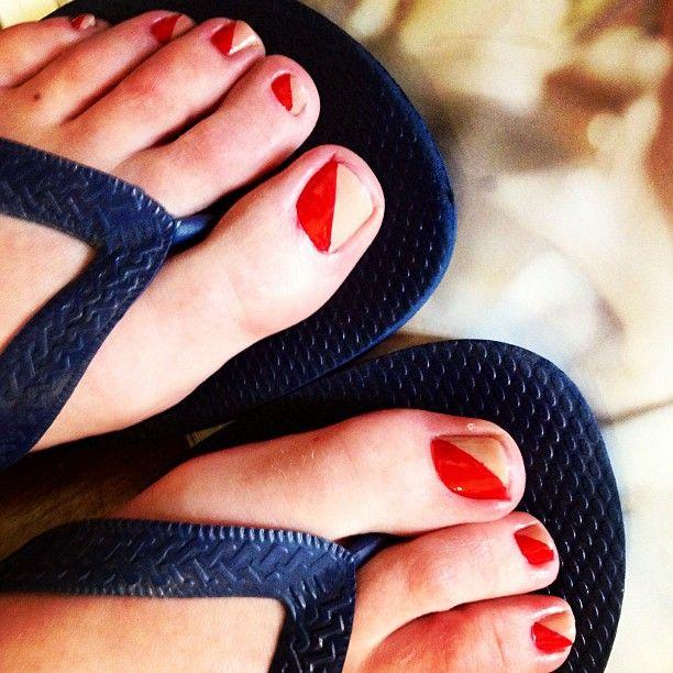 Two Tone Diagonal Simple Toe Nailart Pedicure Ideas In 2018 Pinterest Nails Nail Art And