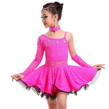 Vestidos (Verde manzana / Fucsia / Amarillo , Encaje , Danza Latina) - Danza Latina - para Mujer / Niños – EUR € 34.29