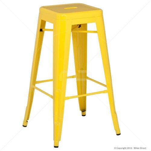 Vintage Metal Cafe Bar Stool - 75cm - Xavier Pauchard Reproduction - Yellow