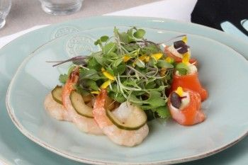 WOOP Dinner Party Entree: WOOP's own salmon gravlax with prawns, horseradish cream, lime vinaigrette, pickled cucumber and salad leaves