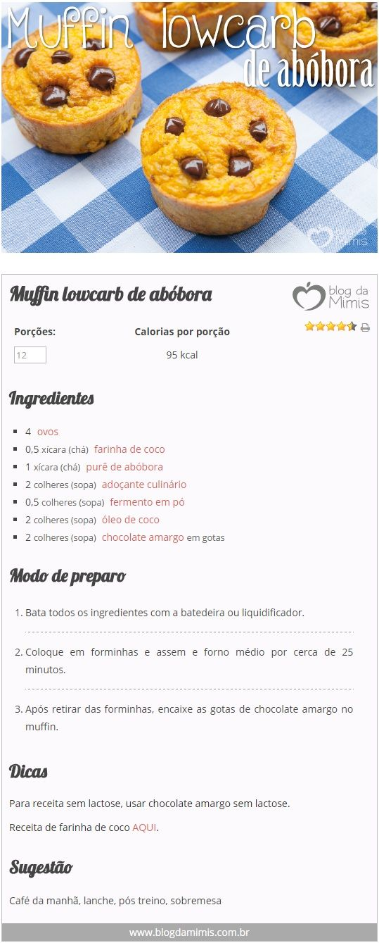 Muffin lowcarb de abóbora - Blog da Mimis #muffin #cupcake #bolo #lowcarb #emagrecedor #diet #dieta #doce #lacfree #glutenfree #receita