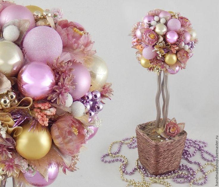 """Купить Новогодний топиарий """"Розовая мечта"""" Дерево Счастья. Подарок на Новый Г - розовый"""