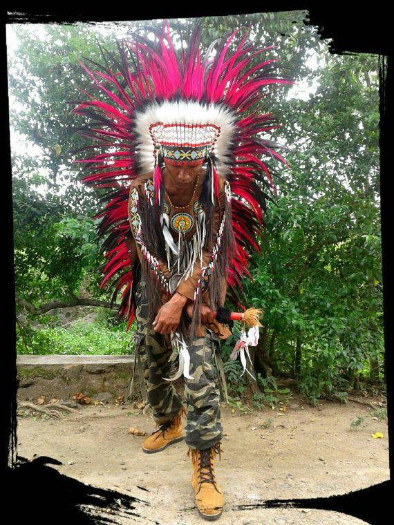 EXTRA LONG Native American Headdress Indian by TheLandOfCockaigne