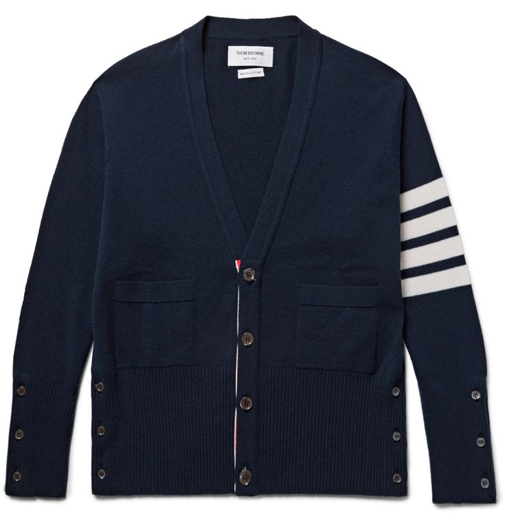 Cut slim, <a href='http://www.mrporter.com/mens/Designers/Thom_Browne'>Thom Browne</a>'s cardigan has been knitted in Scotland from soft cashmere. Quadruple stripes at the sleeve and tricolour grosgrain trims are two of the brand's smartest signatures.