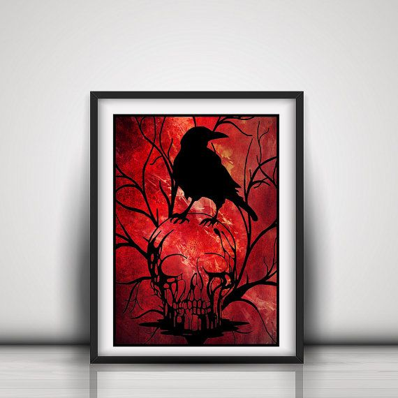 This striking skull and raven handcut paper cut out piece would make a fantastic addition to any gothic home decor. This piece will also be the perfect addition to your halloween decorations and a certain talking piece.  This piece has been cut from black metallic paper and is shown mounted here on a red background print that has been created digitally. It is available cut and mounted in your choice of colours.  Papercut Only - No background will be send you will receive the papercut only…