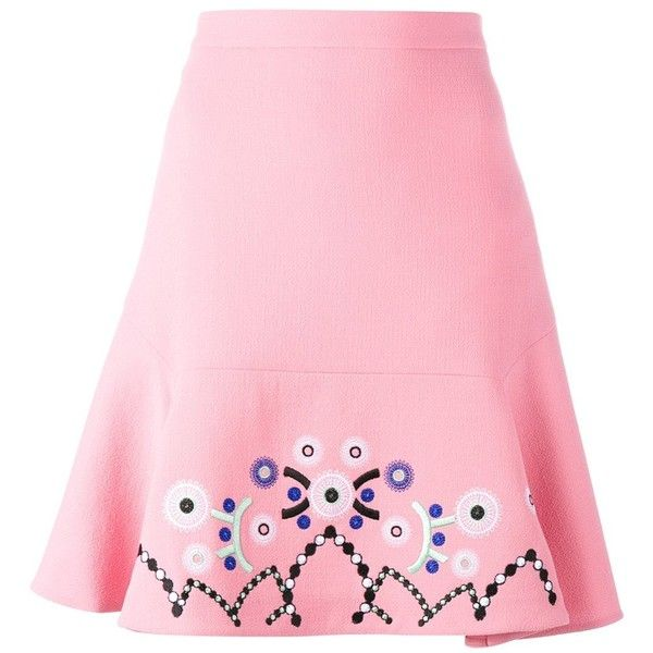 Peter Pilotto Embroidered Detail Skirt ($805) ❤ liked on Polyvore featuring skirts, peter pilotto skirt, embroidered skirt, wool skirts, knee length a line skirt and high waisted short skirts