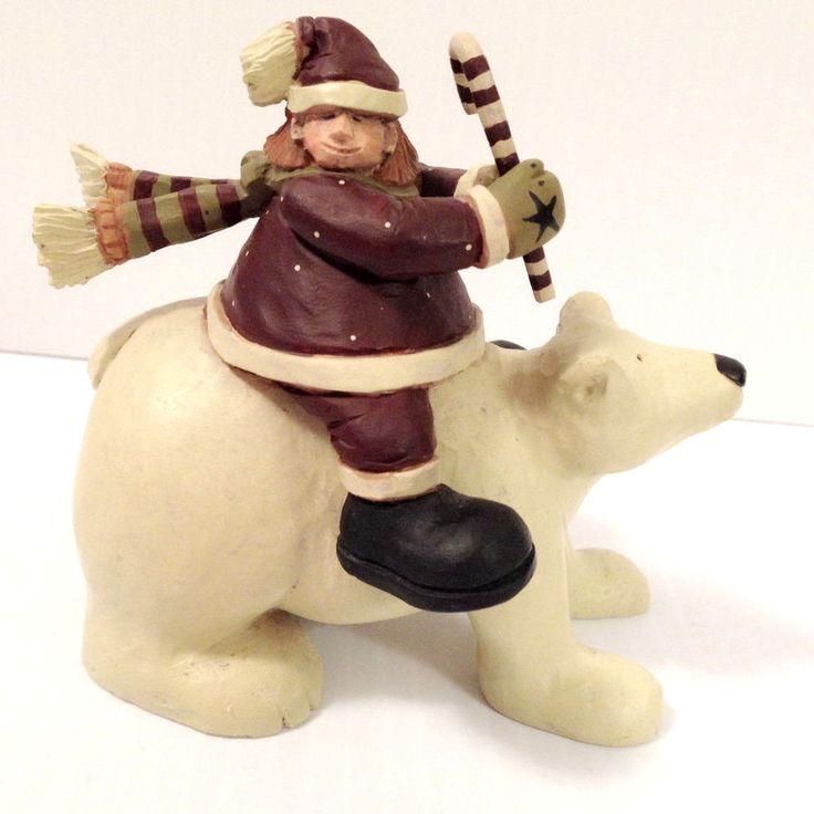 $15.77 2003 Williraye Studios SANTA'S HELPER On Polar Bear Figurine WW2451