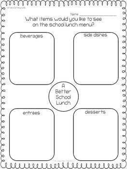 This opinion writing unit will guide students through writing a five paragraph essay. Students will think of ways to improve the school lunch menu and support their opinions with reasons, details, and examples.