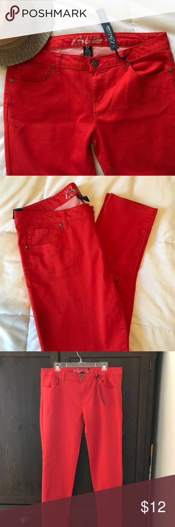 "Orange Red Lightweight Jean Pant! These are super cute red but a cool orange red skinny pant. Brand new w tags. Tag says 17 in juniors which is a woman's size 14. 29"" inseam (long) Pants Straight Leg"