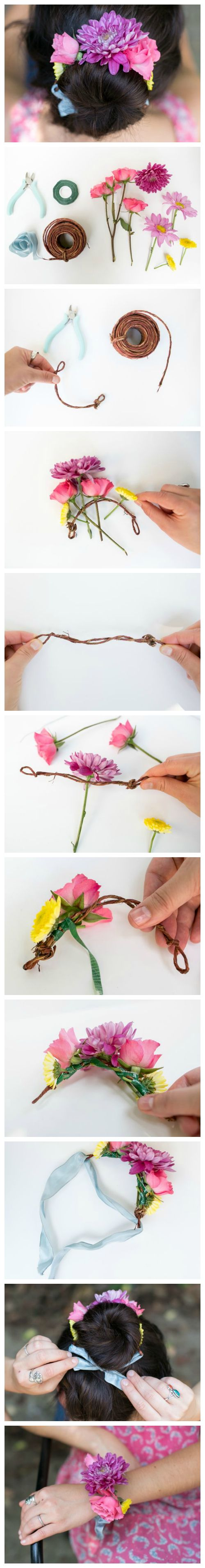 Step-by-step tutorial: make a fresh flower wrap for your top knot or bun - or just a bracelet -- SWEET