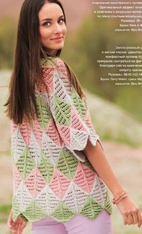 красивый женский пуловер в стиле пэчворк спицами - Вязание для женщин спицами. Схемы вязания спицами