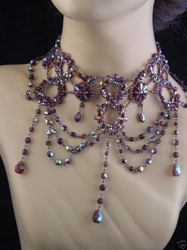 Necklace Ideas - not purple or beaded but I like the style