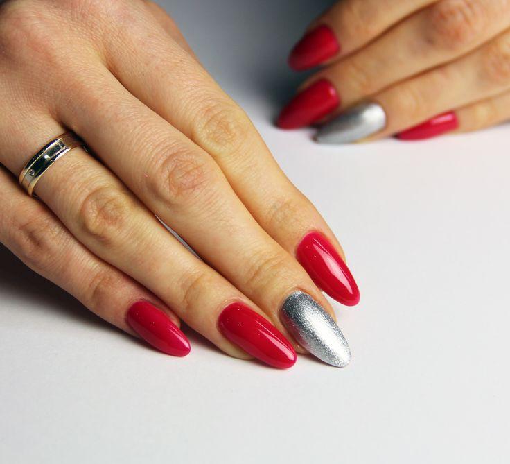 #raspberry #silver #longnails
