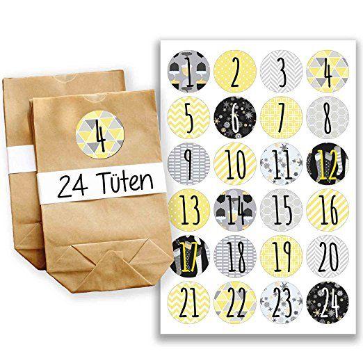 Adventskalender Set - 24 braune Geschenktüten und 24 grau-gelbe Zahlenaufkleber - zum selber basteln und zum befüllen - Mini Set 21 von Papierdrachen