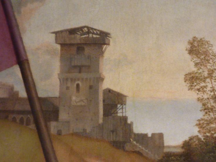 Dettaglio del paesaggio di Giorgione, Torre che porta i segni della guerra.