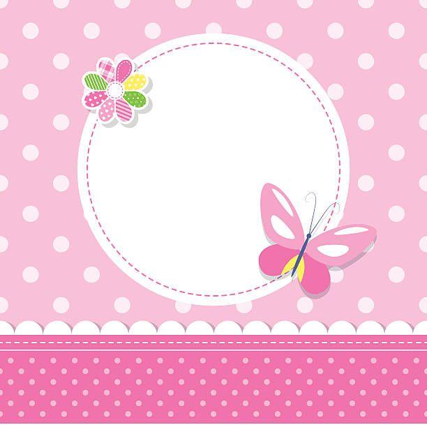 - de-rosa Bebê Menina Cartão de saudação - ilustração de arte em vetor