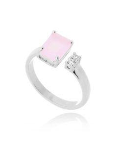 anel rosa quartzo banho prata semijoias