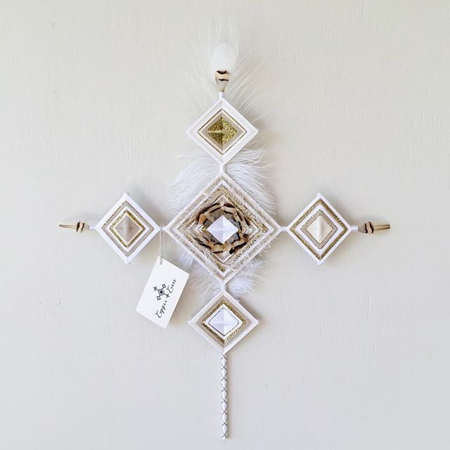 Unique handmade homewares - Metallic gold cross with white peacock and ostrich feather | Copper and Cross