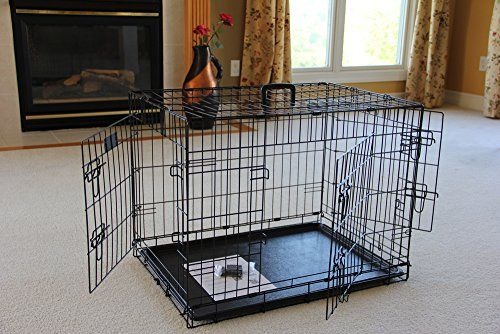 """EliteField 3-Door Folding Dog Crate with RUBBER FEET, 5 Sizes, 10 Models Available (3-Door Crate with Divider, 30""""L x 21""""W x 23""""H) - http://www.bunnybits.org/elitefield-3-door-folding-dog-crate-with-rubber-feet-5-sizes-10-models-available-3-door-crate-with-divider-30l-x-21w-x-23h/"""