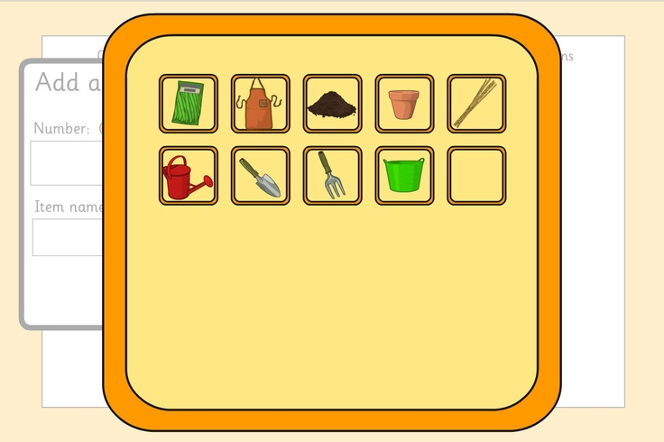 Growing a Bean - Planning Template: Build an equipment and instruction list for growing a bean. Create the equipment list, item by item, annotating it with quantities and editing the item name if required. Optionally, include a picture. A TES iboard resource