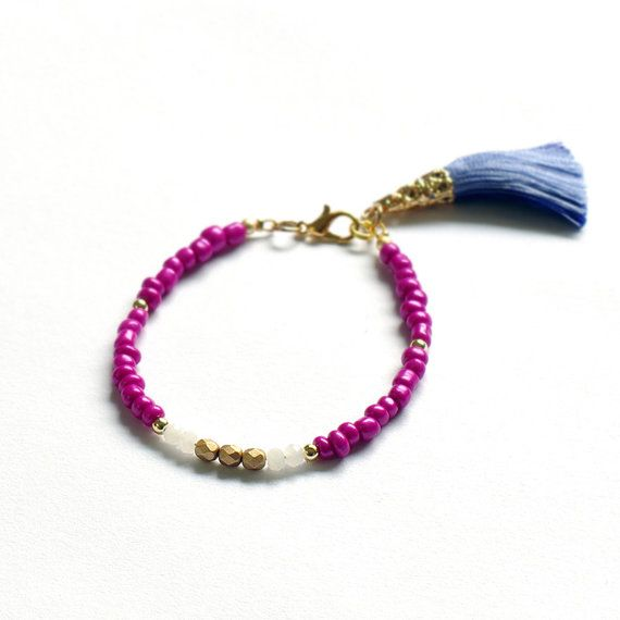 Tassel bracelet Pink beaded bracelet Boho by PopolaJewelry on Etsy