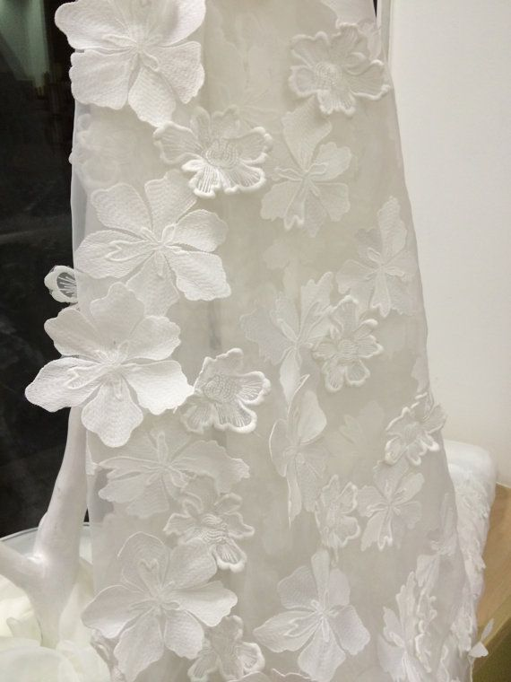 Ivory lace fabric 3D, French Lace, Embroidered lace, Wedding Lace, Bridal lace, Ivory Lace, Veil lace, Lingerie Lace Chantilly Lace