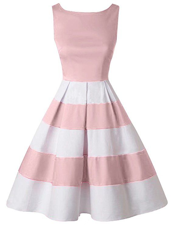 65139ed8c2f6 GownTown Women Splicing Swing Dress Party Picnic Cocktail Dress,  Ivory&pink, Large at Amazon Women's Clothing store:
