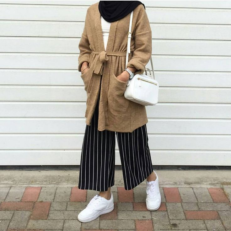 camel wool long cardigan with belt + white shirt + black hijab/scarf + black white pinstripe long culottes + white handbag + white sneakers